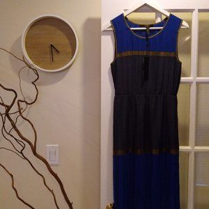 BCBGMAXAZRIA Blue & Gold Dress